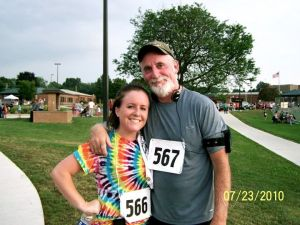 My Dad and I after my first 5K back in July of 2010.