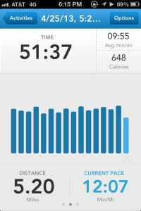This is my running record from today. I've never ran more than 3.6 miles outside. Hard work pays off.