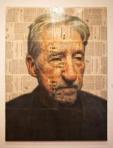 The original piece of writer/activist Tom Hayden. Portrait by Max Collins.